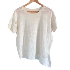 CASLON Short Sleeve Hi Lo Slanted White Sweater